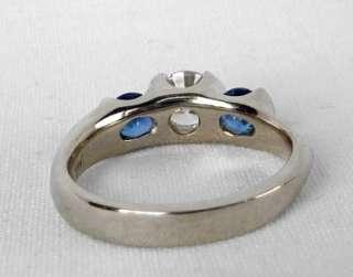 GOLD CUSTOM DESIGNER 1.15 CT DIAMOND+SAPPHIRE 3 STONE ENGAGEMENT RING