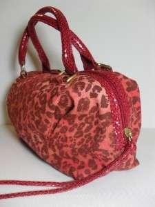 New Victorias Secret Small Orange Red Animal Print Satchel Handbag