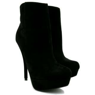 NEW WOMENS SUEDE STYLE STILETTO HEEL PLATFORM ANKLE BOOTS SIZE