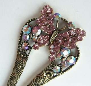 VARY COLORS SWAROVSKI CRYSTAL BRONZE BUTTERFLY HAIR STICK PIN PICK 334