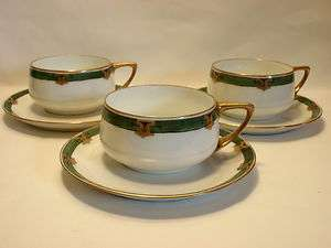 Art Deco 3 Cup and Saucer Sets Donatello Shape White Green Gold Trim
