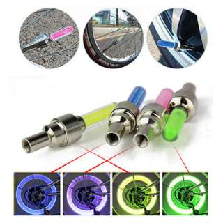 2pcs Cycling Bike Bicycle Wheel Tire Valve Cap Spoke Neon LED Lights