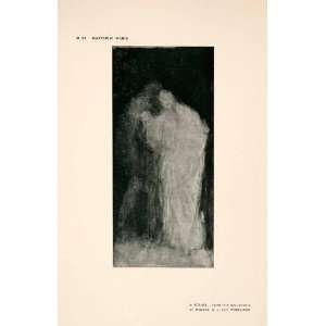 1907 Halftone Print Man Woman Spectral Form Embrace Art