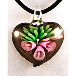 Murano style Glass Pink Lily Flower on Black and Gold Heart Pendant