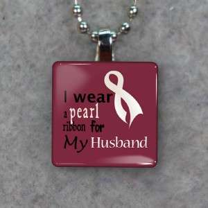 Lung Cancer Pearl Awareness Ribbon For Husband Glass Tile Necklace