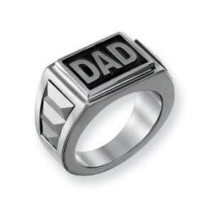 Stainless Steel Black Enamel Dad Ring, Size 10 Chisel