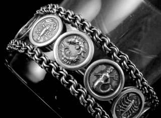 VINTAGE TAXCO MEXICO MEXICAN STERLING SILVER ZODIAC ASTROLOGY BRACELET