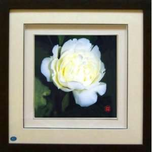 Framed Chinese Silk Embroidery White Peony 13.8x13.8