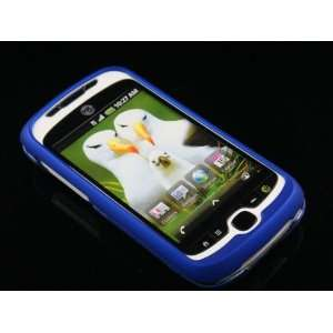 BLUE Hard Rubber Feel Plastic Case for HTC myTouch Slide 3G (T Mobile