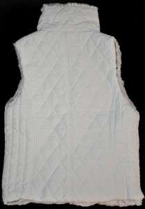 womens New WEATHERPROOF Quilted VEST FAUX FUR Reversible White