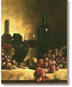 Loran Speck Wine Bottle, Grapes and Walnuts Canvas Art