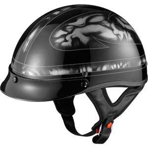 GLX DOT Half Motorcycle Helmet, Skull Silver, XS