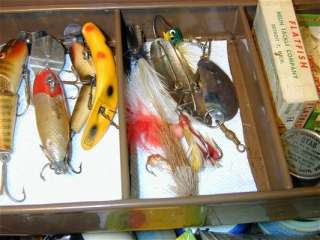Vintage Fishing Tackle Box full of misc Lures Hooks reels bait