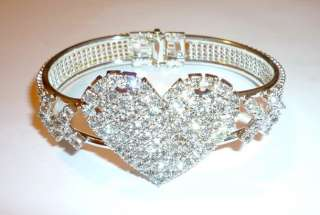 Silver Crystal Rhinestone Heart Bangle Bracelet New