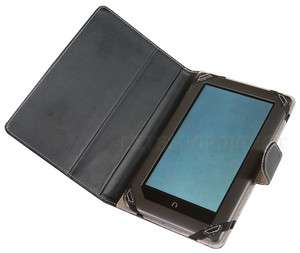 BLACK 3 VIEW LEATHER STAND CASE COVER FOR BARNES AND NOBLE NOOK TABLET