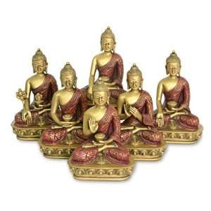Nepali Buddha Statues, Set of 6, Gold and Red Finish