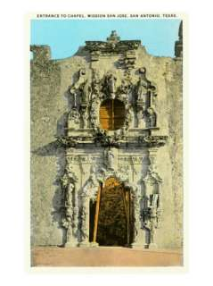 Chapel Entrance, Mission San Jose, San Antonio, Texas Premium Poster