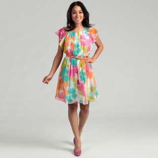 Calvin Klein Womens Floral Print Ruffled Dress