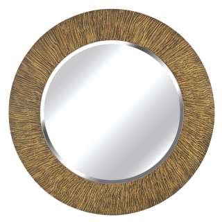 Benton 33 in Round Striated Black and Tan Wall Mirror