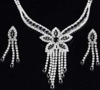 Jewelry Black&White Crystal Korean Flower Earrings Necklace
