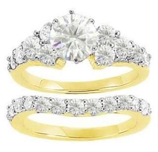 CT ROUND MOISSANITE ENGAGEMENT RING WEDDING BAND SET
