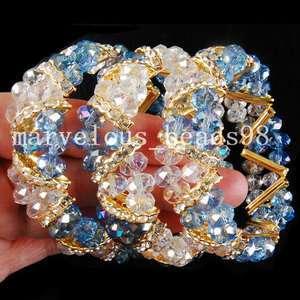 AB White Clear Blue Crystal Beads Bracelet G1503