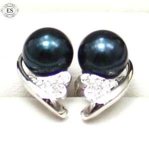 NATURAL DIAMOND 14K WHITE GOLD GENUINE AKOYA BLUE BLACK PEARL EARRINGS
