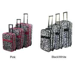 Zebra Pattern Expandable 3 Piece Upright Luggage Set
