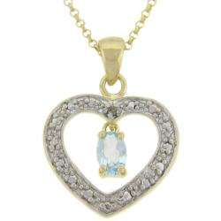 18k Gold over Silver Blue Topaz and Diamond Accent Heart Necklace