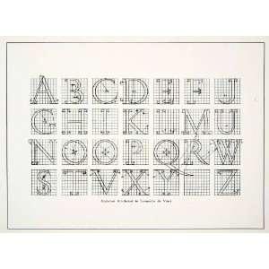 com 1928 Print Leonard Da Vinci Alphabet Letter Typeface Font Design