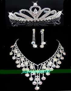 Wedding/Bridal crystal necklace earrings tiaras set C7