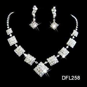 Wedding Bridal crystal necklace earring Jewelry set 258
