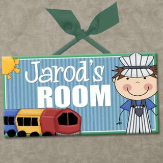 PERSONALIZED Kids Room Door Sign TRAIN TALES   BOY CONDUCTOR Cute Wall
