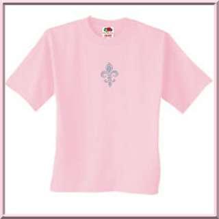 Rhinestones Teal Fleur De Lis French Provencial T Shirt S,M,L,XL,2X,3X