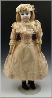 Gorgeous 19thC French Pale Bisque Doll w/ Glass Eyes & Kid Leather