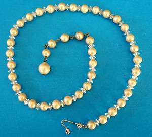 Vintage Marvella Champagne Pearl & Crystal Necklace