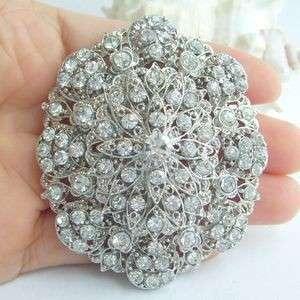 Hot Charming Bridal Flower Brooch Pin w Clear Rhinestone Crystals