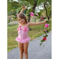 Mia Belle Baby Girls Pink Rosette Ballerina Tutu Swimsuit