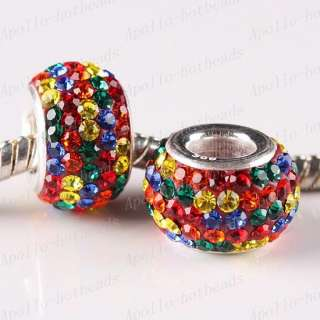 RAINBOW CZECH CRYSTAL 925 STERLING SILVER EUROPEAN CHARM BEAD
