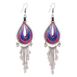 Alpaca Silver and Woven Cotton Thread Pink/ Blue Drop Earrings (Peru