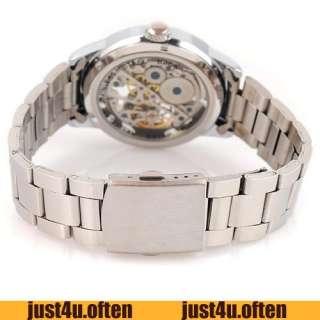 silver new mens mechanical hand wind wrist watch hollow dial