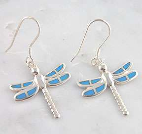 Sterling Silver Turquoise Inlay Dragonfly Earrings