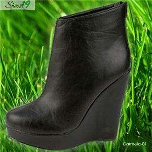 Carmela 1 Platform Wedge Boot Ankle High Heel Booties Pump Shoe