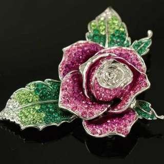Swarovski Crystal Pink Rose Leaf Gold GP Brooch Pin e16