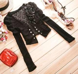 New Korean Women Lace Long Sleeve Shrug Jacket 0672