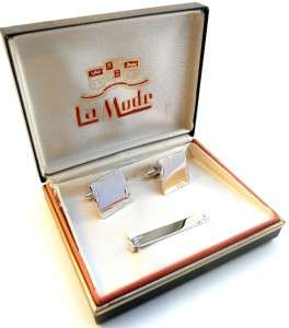 Vintage 1950s 60s La MODE Sterling Engraved CUFF LINKS & TIE BAR Orig
