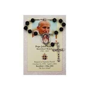 Pope John Paul II Prayer card with Auto Rosary Everything