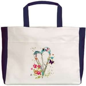 Tote Navy Flowered Butterfly Heart Peace Symbol Sign