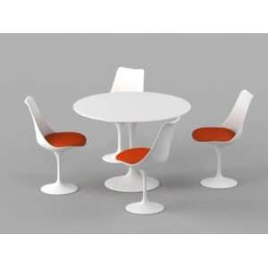 42 Eero Saarinen Style Tulip Dining Table with White