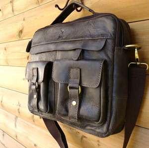 Genuine Leather Shoulder Satchel Bag handbag vintage tab man 13 laptop